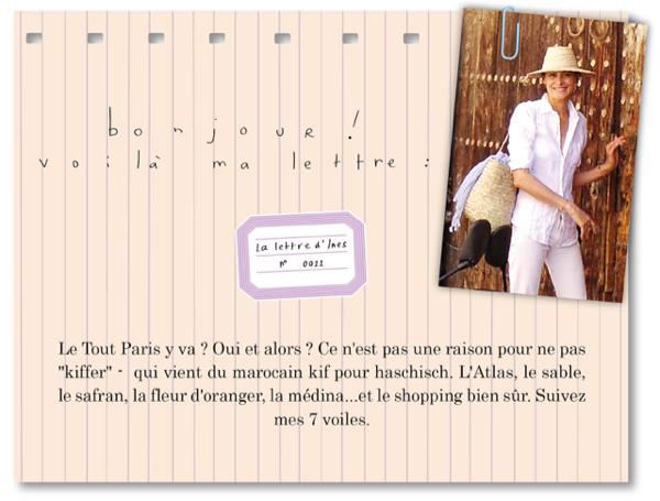 """Inès de la Fressange parle dans sa """"Lettre dines"""" de sa découverte à Marrakech de l'eau de fleur d'oranger d'Abderrazzak Benchaâbane"""