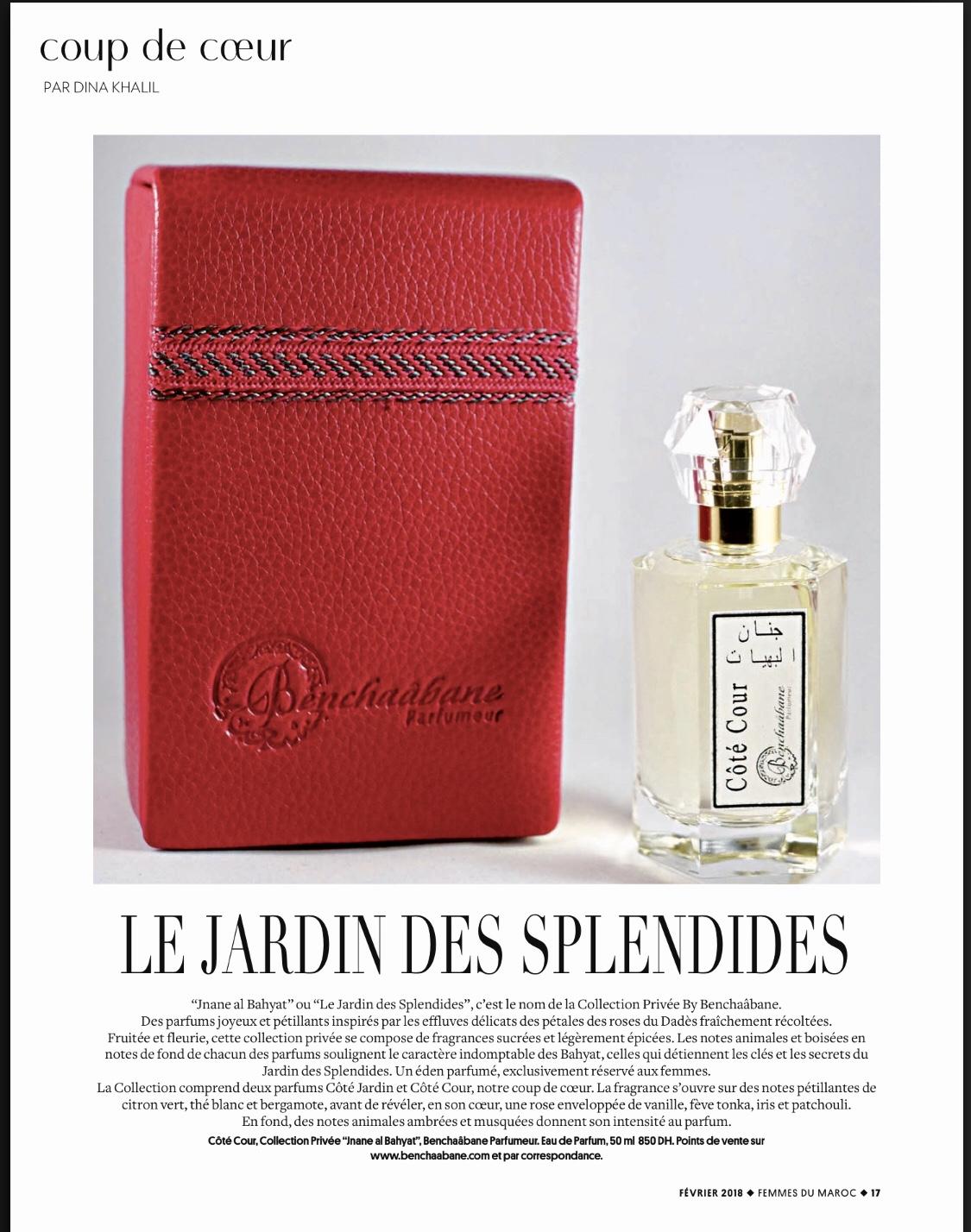 Le coup de cœur du Magazine Femmes du Maroc en mois de février 2018 est l'Eau de Parfum Côté Cour by Benchaâbane